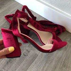Brand new C Label velvet look red heels 8.5 👠